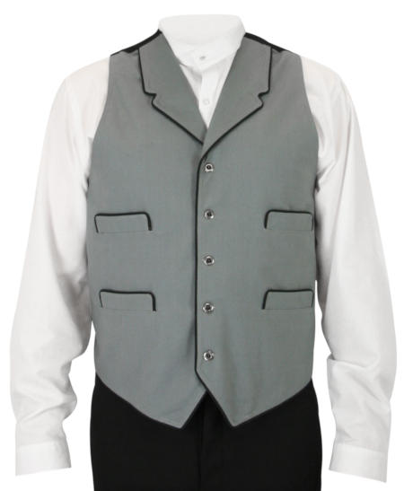 Wedding Mens Gray Solid Notch Collar Dress Vest | Formal | Bridal | Prom | Tuxedo || McPherson Vest - Gray