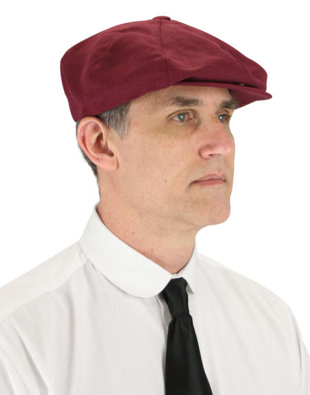 Victorian Mens Burgundy Linen Cap | Dickens | Downton Abbey | Edwardian || Linen Applejack Cap - Wine