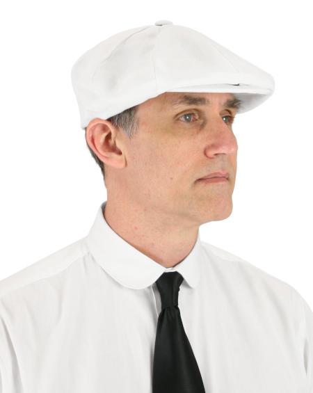Steampunk Mens White Linen Cap | Gothic | Pirate | LARP | Cosplay | Retro | Vampire || Linen Applejack Cap - White