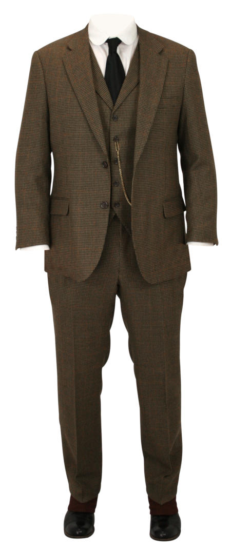 Wedding Mens Brown Wool,Tweed Houndstooth Suit | Formal | Bridal | Prom | Tuxedo || Atherton Suit - Brown Wool Houndstooth
