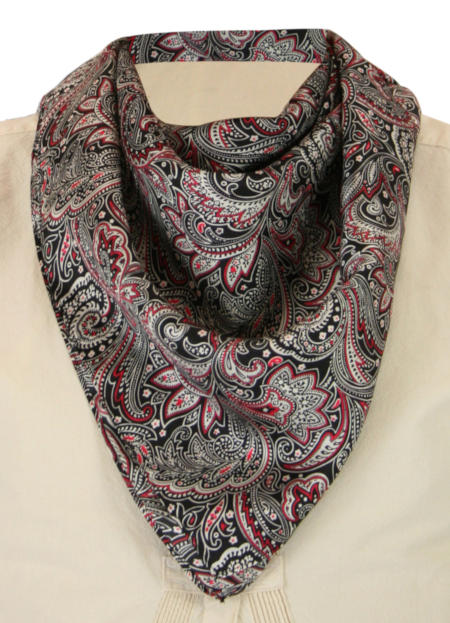 Victorian Mens Black,Burgundy,Red Silk Paisely Neckerchief | Dickens | Downton Abbey | Edwardian || Premium Silk Paisley Neckerchief - Black/Burgundy