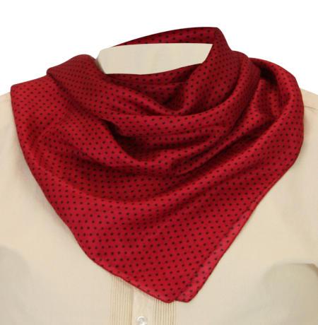 Steampunk Mens Red Silk Geometric Neckerchief | Gothic | Pirate | LARP | Cosplay | Retro | Vampire || Premium Silk Polka Dot Neckerchief - Red