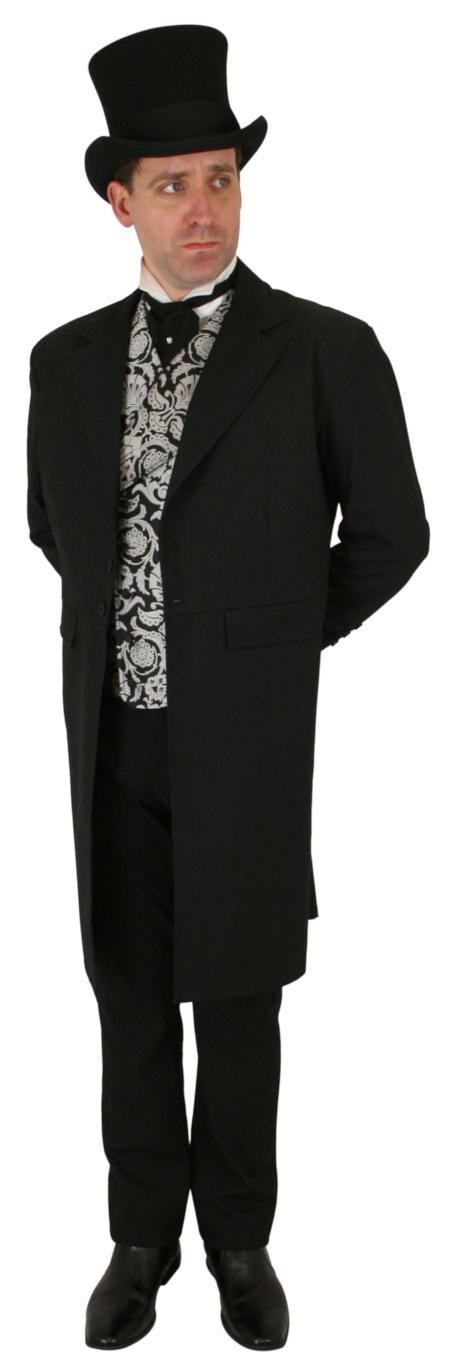 1800s Mens Black Solid Notch Collar Frock Coat | 19th Century | Historical | Period Clothing | Theatrical || Emerson Frock Coat - Black Wool Blend