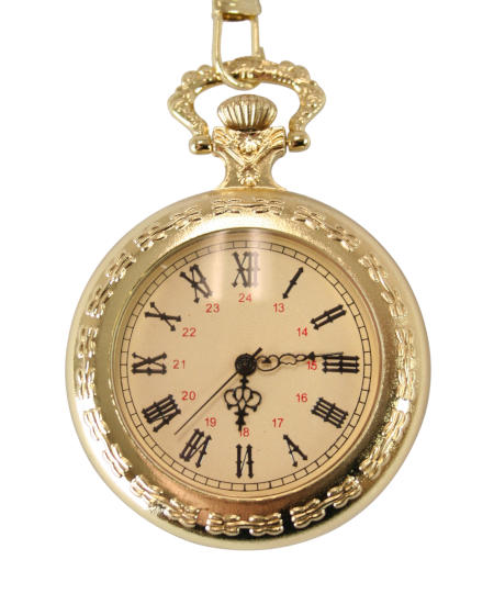 Vintage Mens Gold Alloy Quartz Watch | Romantic | Old Fashioned | Traditional | Classic || Open Face Pocket Watch - Gold