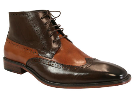 Wingtip Boot - Two Tone Brown Leather