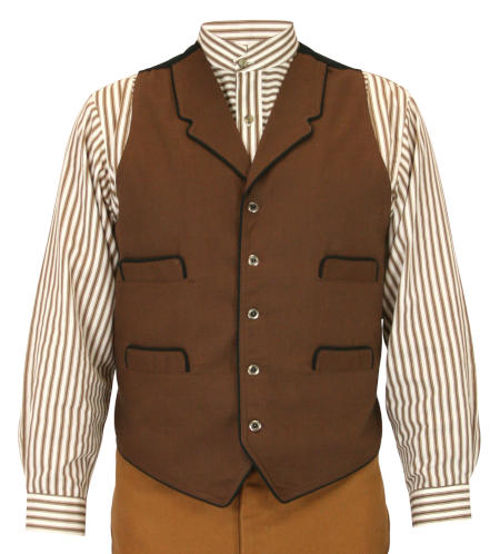Vintage Mens Brown Solid Notch Collar Dress Vest | Romantic | Old Fashioned | Traditional | Classic || McPherson Vest - Brown