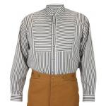 Victorian,Old West, Mens Shirts Blue Cotton Stripe Bib Shirts,Work Shirts,Dress Shirts |Antique, Vintage, Old Fashioned, Wedding, Theatrical, Reenacting Costume |