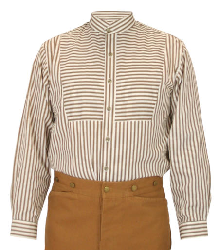 Victorian Mens Brown Cotton Stripe Band Collar Bib Shirt | Dickens | Downton Abbey | Edwardian || Bannock Shirt - Brown Stripe