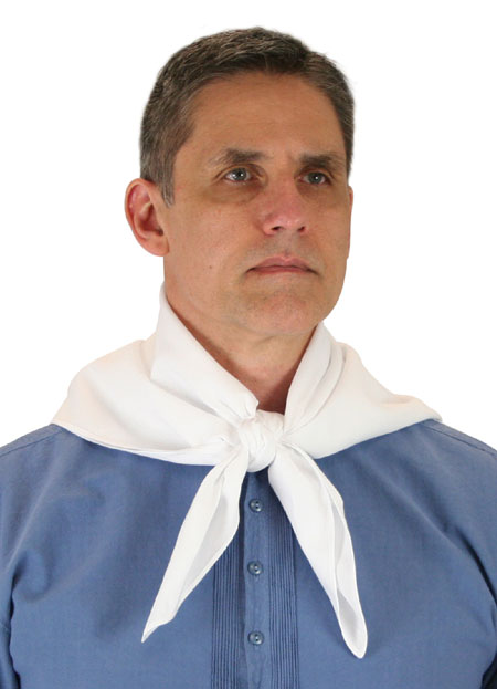 Vintage Mens White Cotton Solid Neckerchief | Romantic | Old Fashioned | Traditional | Classic || Cotton Neckerchief - White