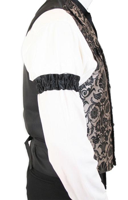 Wedding Mens Black Satin,Microfiber Solid Sleeve Garter | Formal | Bridal | Prom | Tuxedo || Black Satin Sleeve Garters (One Pair)