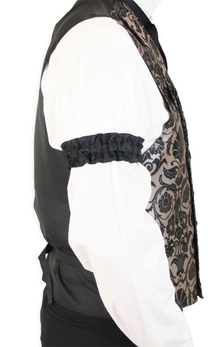 Wedding Mens Black Satin,Microfiber Floral Sleeve Garter | Formal | Bridal | Prom | Tuxedo || Satin Sleeve Garters - Black Farnsworth (One Pair)