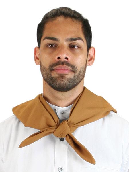 Victorian Mens Brown Cotton Geometric Neckerchief | Dickens | Downton Abbey | Edwardian || Cotton Neckerchief - Tobacco