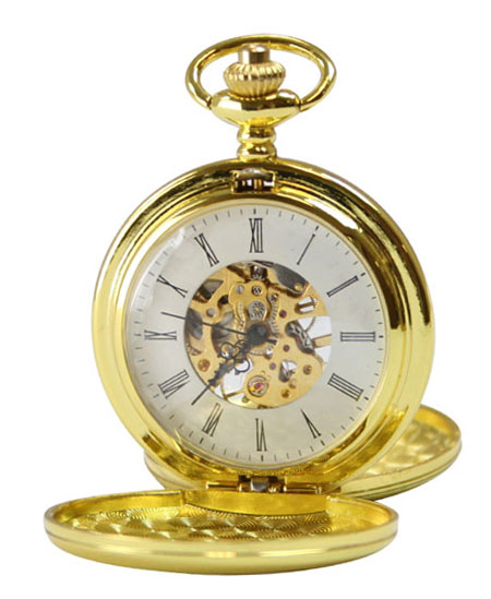 1800s Mens Gold Alloy Mechanical Watch | 19th Century | Historical | Period Clothing | Theatrical || Gold Tone Mechanical Pocket Watch with Chain - Double Hunter Case