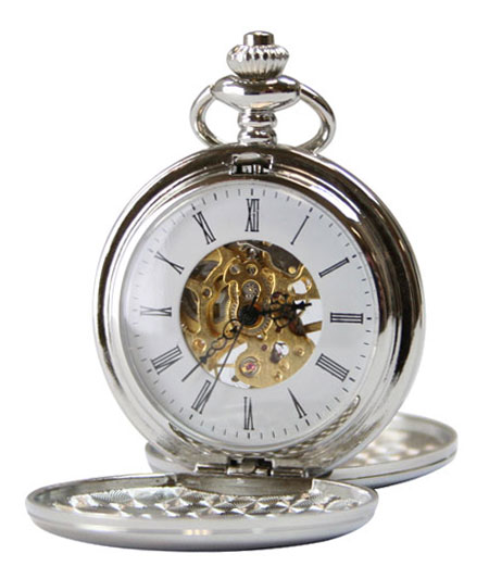 Vintage Mens Silver Alloy Mechanical Watch | Romantic | Old Fashioned | Traditional | Classic || Silver Tone Mechanical Pocket Watch with Chain - Double Hunter Case
