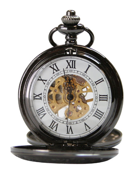 Black Pearl Skeleton Dial Mechanical Pocket Watch with Chain - Half Double Hunter Case