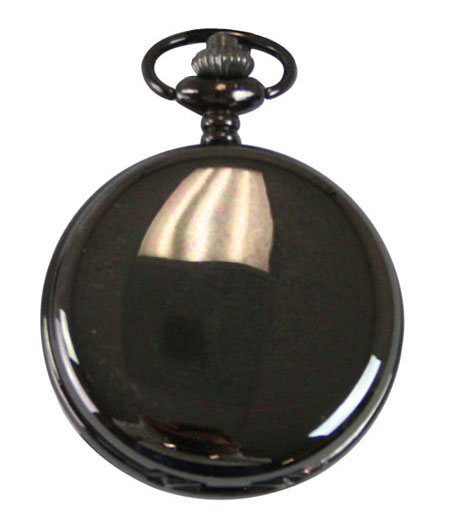 Victorian Mens Black Alloy Quartz Watch | Dickens | Downton Abbey | Edwardian || Black Pearl Pocket Watch with Chain