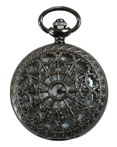Steampunk Mens Black Alloy Quartz Watch | Gothic | Pirate | LARP | Cosplay | Retro | Vampire || Black Pearl Lacy Design Pocket Watch with Chain