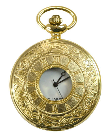 1800s Mens Gold Alloy Quartz Watch | 19th Century | Historical | Period Clothing | Theatrical || Gold Plated Inscribed Window Pocket Watch with Chain