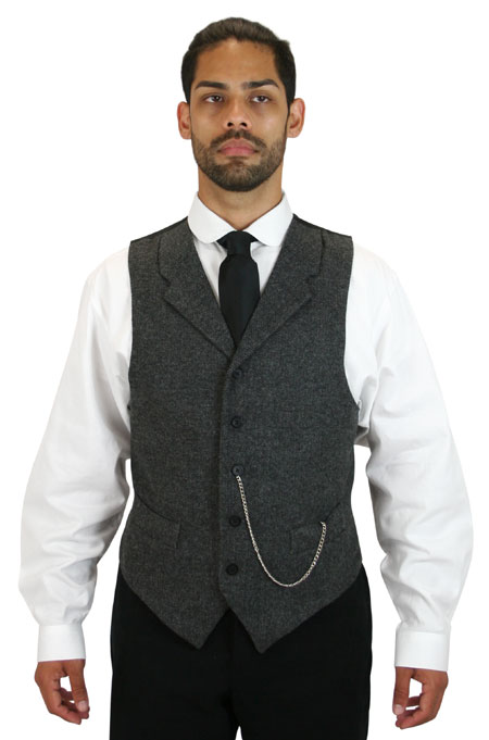 Victorian Mens Gray Tweed Herringbone Notch Collar Dress Vest | Dickens | Downton Abbey | Edwardian || Burford Tweed Vest with Black Buttons - Gray Herringbone