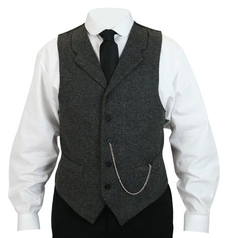 Burford Tweed Vest with Black Buttons - Gray Herringbone