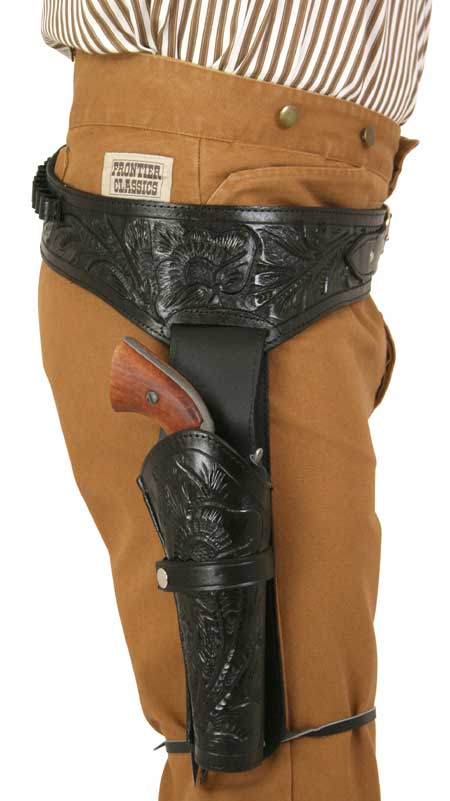 Steampunk Mens Black Leather Tooled Gunbelt Holster Combo | Gothic | Pirate | LARP | Cosplay | Retro | Vampire || (.38/.357 cal) Western Gun Belt and Holster - RH Draw (Long Barrel) - Black Tooled Leather