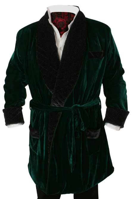 Vintage Smoking Robe - Green Velvet