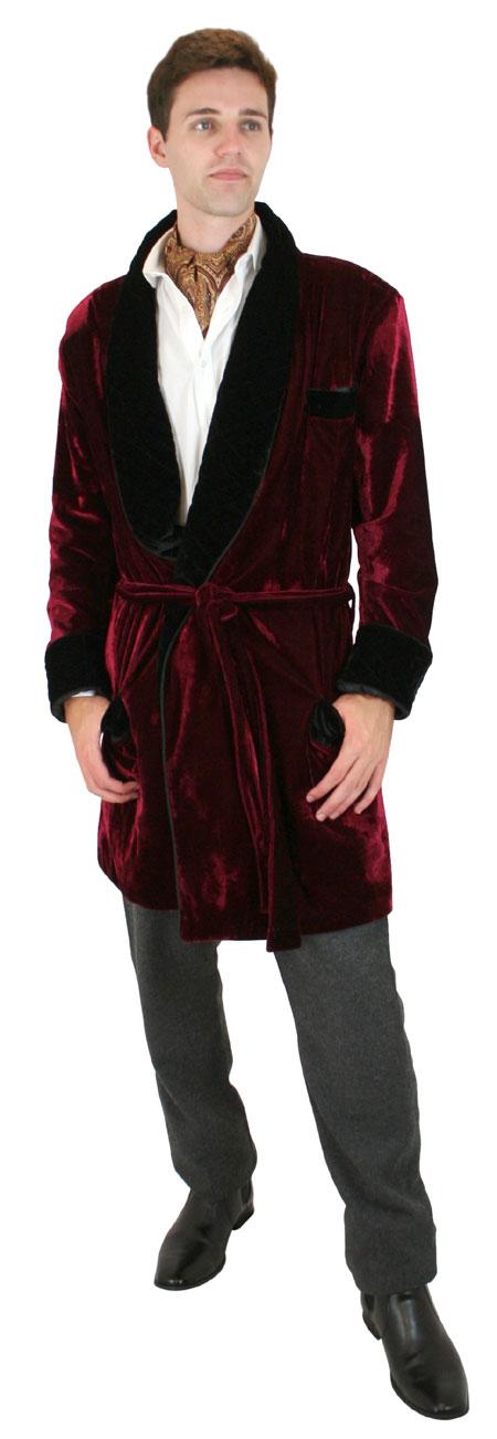Wedding Mens Burgundy Solid Shawl Collar Smoking Robe   Formal   Bridal   Prom   Tuxedo    Vintage Smoking Robe - Burgundy Velvet