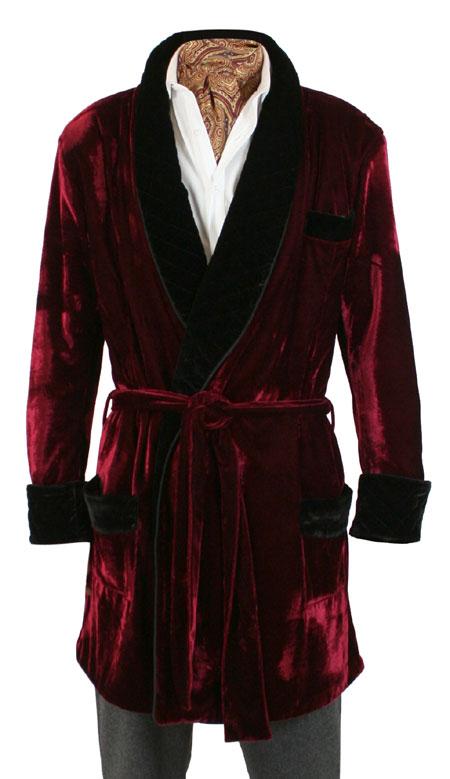 Vintage Smoking Robe - Burgundy Velvet