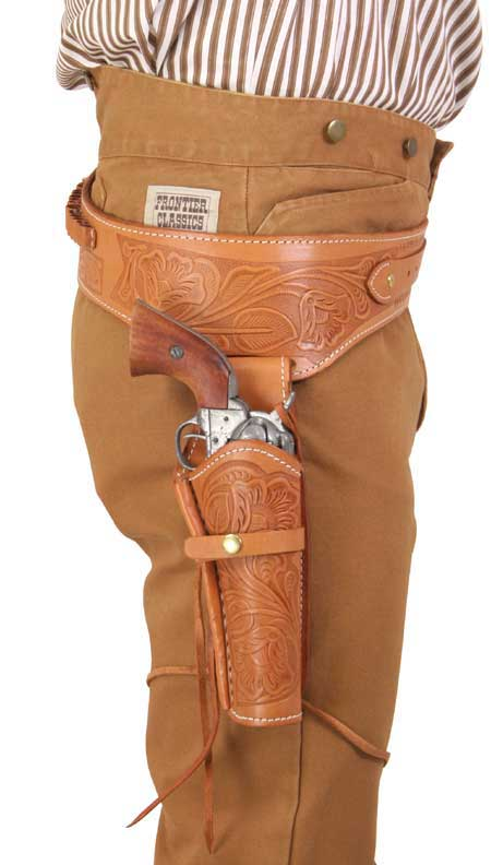 Victorian Mens Tan,Natural,Brown Leather Tooled Gunbelt Holster Combo | Dickens | Downton Abbey | Edwardian || (.38/.357 cal) Western Gun Belt and Holster - RH Draw - Tan Tooled Leather