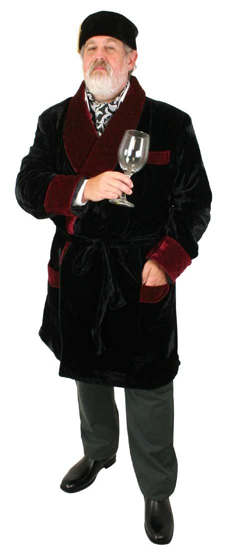 1800s Mens Black Solid Shawl Collar Smoking Robe   19th Century   Historical   Period Clothing   Theatrical    Vintage Smoking Robe - Black with Burgundy Velvet