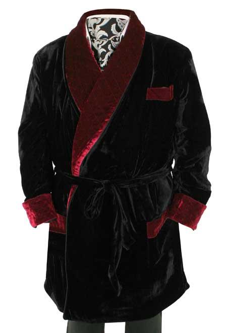 Vintage Smoking Robe - Black with Burgundy Velvet