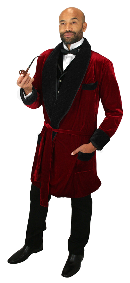 Vintage Mens Red Solid Shawl Collar Smoking Robe   Romantic   Old Fashioned   Traditional   Classic    Vintage Smoking Robe - Red Velvet