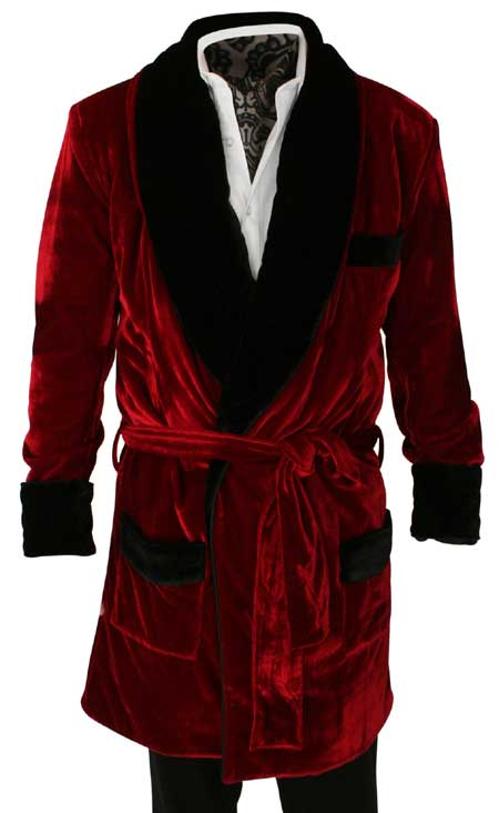Vintage Smoking Robe - Red Velvet