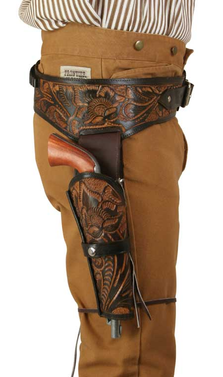 Victorian Mens Brown,Two-Tone Leather Tooled Gunbelt Holster Combo | Dickens | Downton Abbey | Edwardian || (.38/.357 cal) Western Gun Belt and Holster - RH Draw (Long Barrel) - Two-Tone Brown Leather