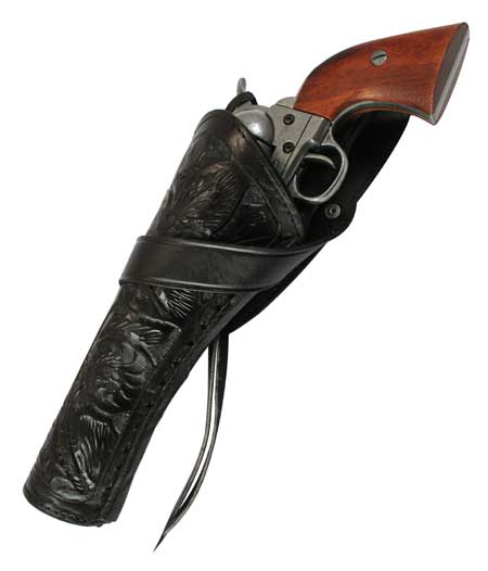 1800s Mens Black Leather Tooled Holster | 19th Century | Historical | Period Clothing | Theatrical || Western Holster - LH Cross-Draw (Long Barrel) - Black Tooled Leather