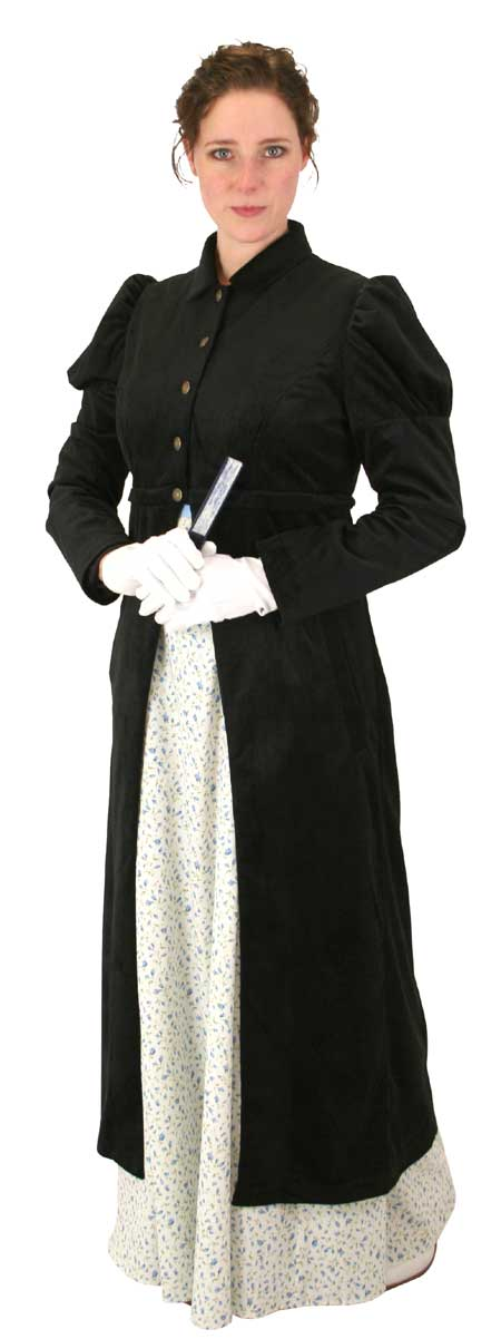 Steampunk Ladies Black Notch Collar Spencer | Gothic | Pirate | LARP | Cosplay | Retro | Vampire || Regency Spencer Coat - Black Corduroy