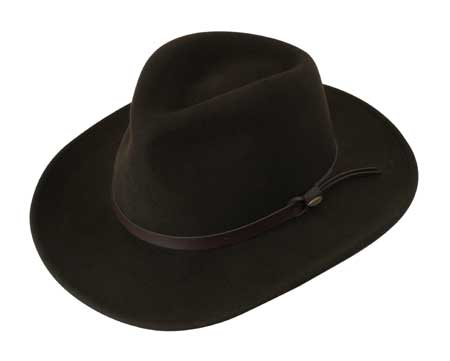 1800s Mens Brown Wool Felt Wide Brim Hat | 19th Century | Historical | Period Clothing | Theatrical || Western Cowboy Hat - Chocolate