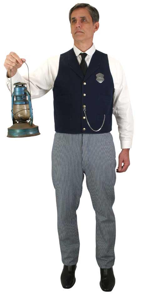 Victorian Mens Blue Cotton Stripe Work Pants | Dickens | Downton Abbey | Edwardian || Hanover Trouser - Denim Stripe