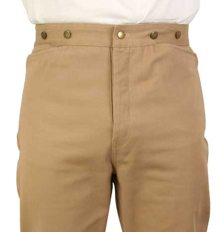 Steampunk Mens Tan,Brown Cotton Solid Work Pants | Gothic | Pirate | LARP | Cosplay | Retro | Vampire || Foster Canvas Trousers - Tan