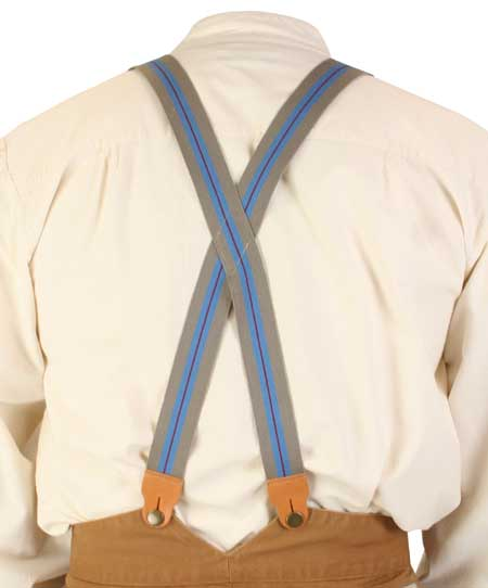Vintage Mens Cotton X-Back Braces Suspenders | Romantic | Old Fashioned | Traditional | Classic || 1860s Cotton X-Back Suspenders - Taupe Stripe