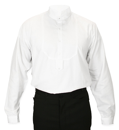 Victorian High Collar Dress Shirt - White