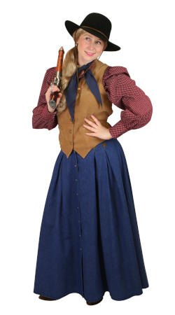 Old West Ladies Outfits Frontier Folk,Gunslingers |Antique, Vintage, Old Fashioned, Wedding, Theatrical, Reenacting Costume |