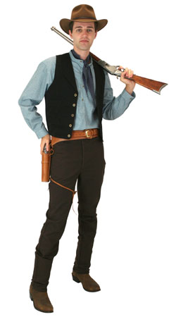 Old West Mens Outfits Gunslingers |Antique, Vintage, Old Fashioned, Wedding, Theatrical, Reenacting Costume |