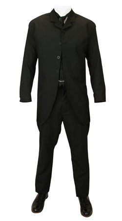 Mens Suits Black Synthetic Solid Matched Sets |Antique, Vintage, Old Fashioned, Wedding, Theatrical, Reenacting Costume |