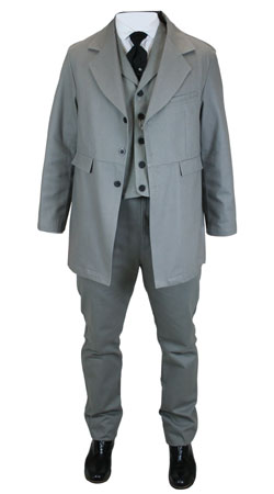 Mens Suits Gray Cotton Solid Matched Sets |Antique, Vintage, Old Fashioned, Wedding, Theatrical, Reenacting Costume |