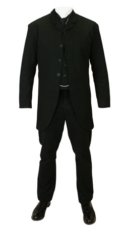 Mens Suits Black Cotton Solid Matched Sets |Antique, Vintage, Old Fashioned, Wedding, Theatrical, Reenacting Costume |