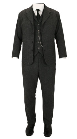 Mens Suits Gray Tweed,Wool Blend Herringbone Matched Sets |Antique, Vintage, Old Fashioned, Wedding, Theatrical, Reenacting Costume |