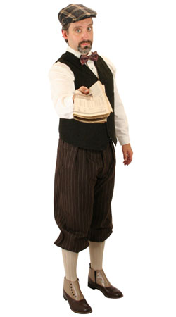 Victorian, Mens Outfits Townspeople |Antique, Vintage, Old Fashioned, Wedding, Theatrical, Reenacting Costume | Newsboy