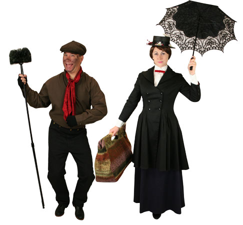 Victorian,Hollywood,Literary,Steampunk Group Outfits Townspeople |Antique, Vintage, Old Fashioned, Wedding, Theatrical, Reenacting Costume | Nanny and Chimneysweep,Famous Characters