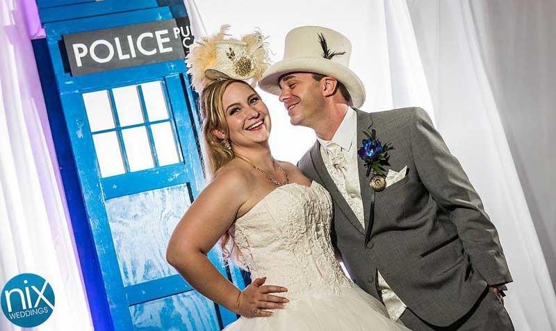 Customer photos wearing Top Hat Wedding!